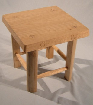 Low stool in chestnut