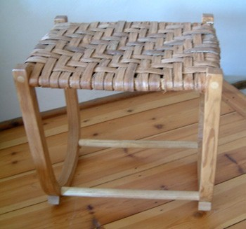 Rocking stool in ash with lime bark seat